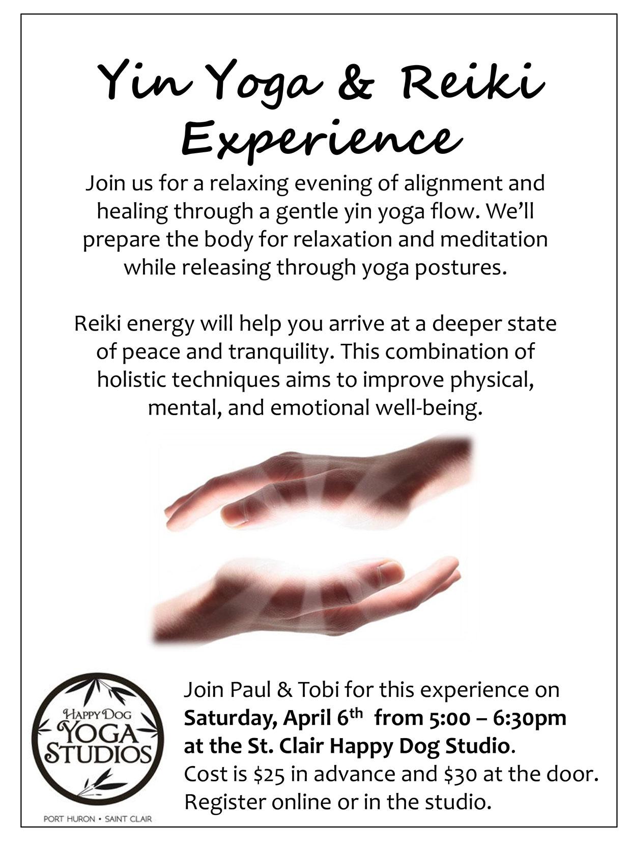Yin Yoga and Reiki Experience
